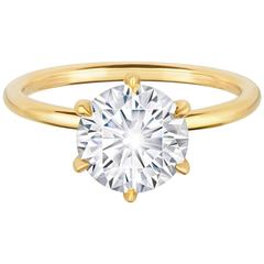 2.22 Carat GIA Certified Round Diamond Yellow Gold Engagement Ring