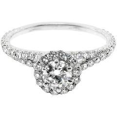 GIA Certified Stunning Platinum Engagement Ring Sparkling Round White Diamonds