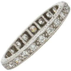 Antique Platinum Eternity Band 0.50 Carat H/SI1, circa 1920s