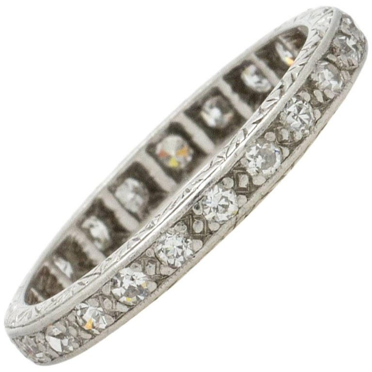 cut wedding eternity pin band bands diamonds in single deco mn antique minneapolis art platinum