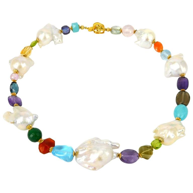 Large Baroque Freshwater Pearl and Gemstone Necklace