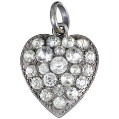 Antique Georgian Paste Silver Heart Pendant, circa 1800