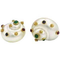 18K MAZ Shell Multigem Emerald Ruby and Sapphire Yellow Gold Clip on Earrings