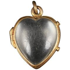 Antique Victorian Crystal Heart Locket, circa 1880