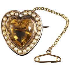 Antique Victorian Citrine Pearl Gold Heart Brooch, circa 1880