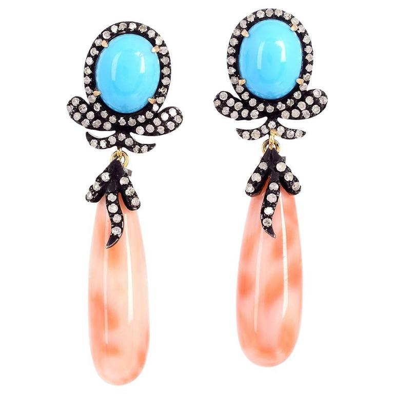 Coral Turquoise Drop Earrings