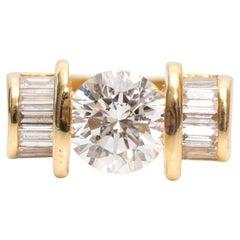 1990s 2.20 Carat Diamond Yellow Gold Ring