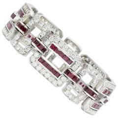 26 Carat Ruby Diamond White Gold Oval Link Bracelet
