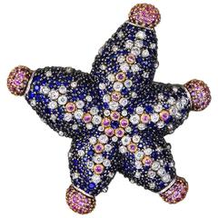 Diamond Blue and Pink Sapphire Gold Starfish Ring Brooch Pendant Necklace Cuff