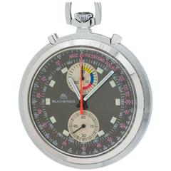 Bucherer Stainless Steel Chronograph Pocket Watch, circa 1960s