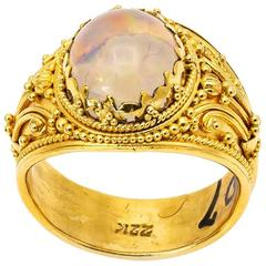 Large Jelly Opal Gold Ring with Intricate Granular Detail