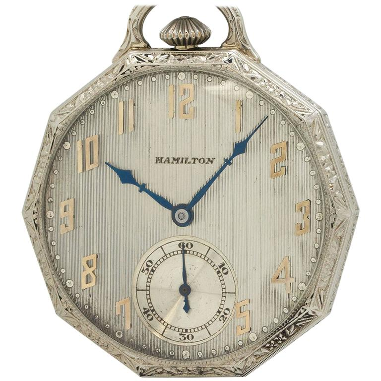 Hamilton White Gold Dress Pocket Watch, circa 1929