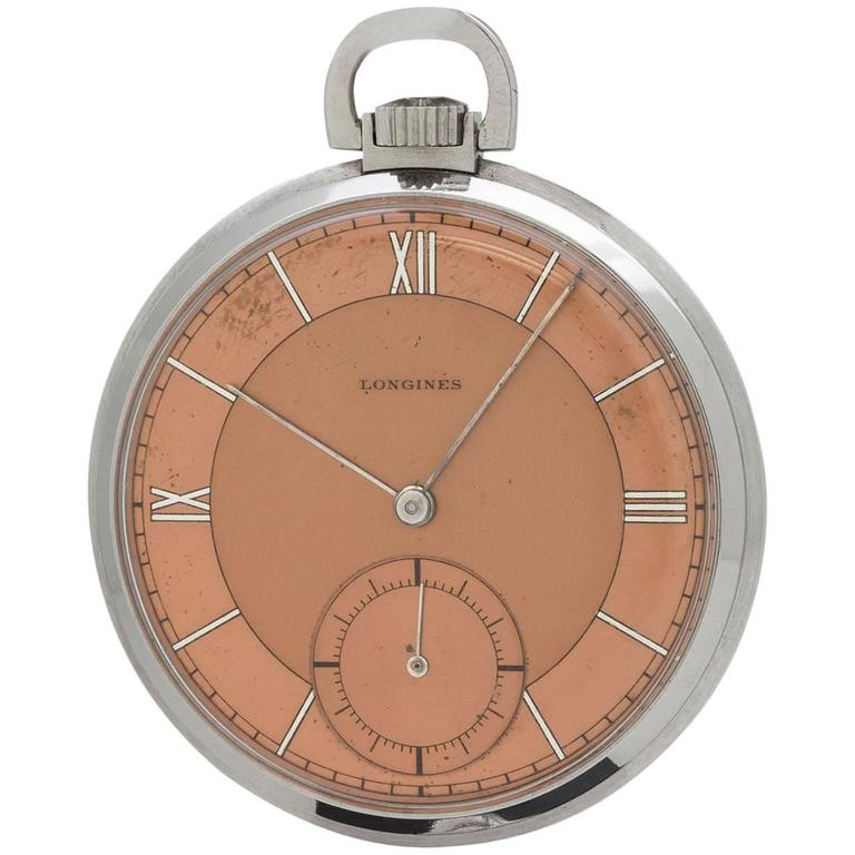 Longines Stainless Steel Industrial Design Manual Wind Pocket Watch, circa 1930s