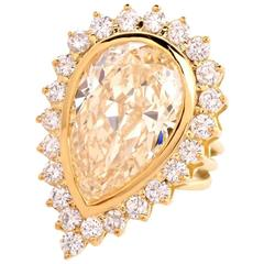 GIA Certified Light Yellow Diamond Gold Cocktail Engagement Ring