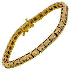 Classic Diamond Gold Channel Line Bracelet