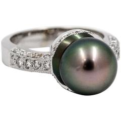 Cultured Black Pearl White Gold Ring