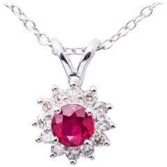 Ruby Diamond Halo White Gold Pendant