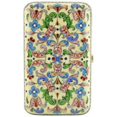 Russian Antique Silver and Shaded Cloisonné Enamel Card Case by Ivan Saltykov