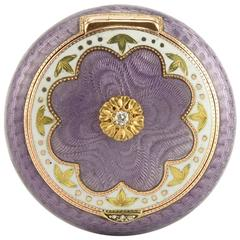 Russian Imperial Diamond-Set and Gold-Mounted Guilloché Enamel Pillbox