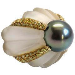 Rock Crystal Tahitian Pearl Fancy Diamond Gold Cocktail Ring