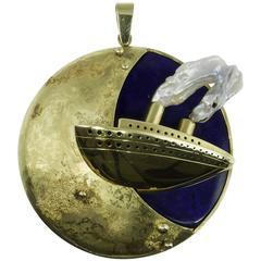 Negri Gioielli 750 18 Karat Gold Silver Lapis Lazuli Pearl Pendant