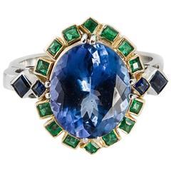 Diz Design 18KGold Tanzanite 4 7ct Sapphire 0 18ct Emerald 0 21 Fashion Ring