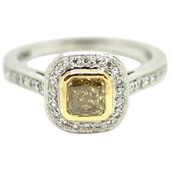 Square Modified Brilliant Fancy Intense Yellow Ring