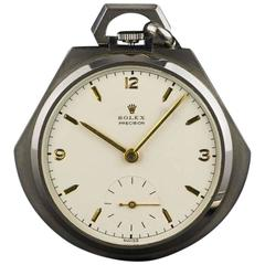 Rolex Rare Stainless Steel Open Face Pocket Watch