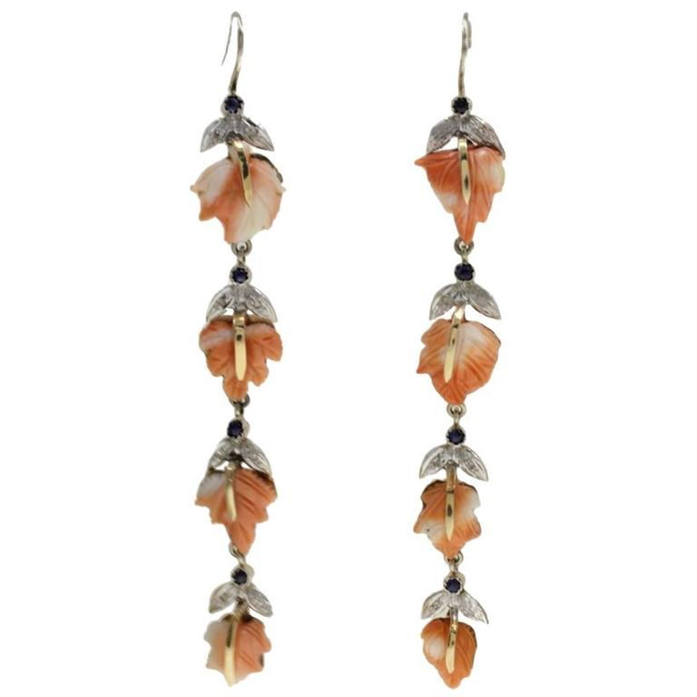 Diamond Sapphire Coral Dangle Earrings