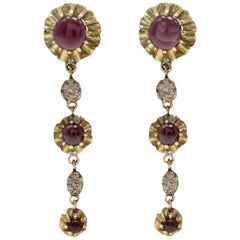 Garnet Diamond Gold Dangle Earrings