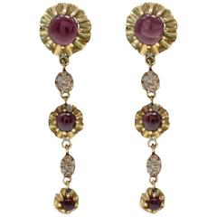 Garnet Diamond Gold Dangle Earrings