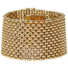French gold brick link bracelet