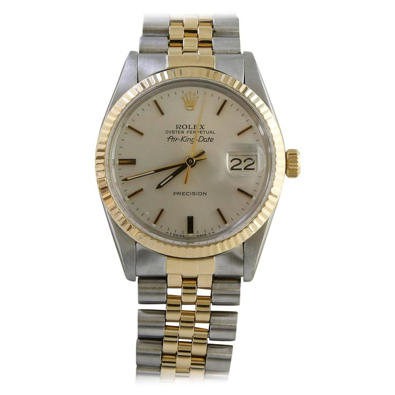 Rolex yellow Gold Stainless Steel Air King Precision Date Wristwatch   1