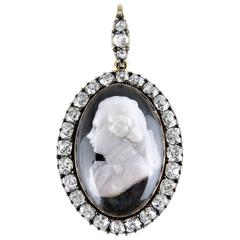 Late 18th Century George IV as Prince of Wales Diamond Cameo Pendant