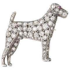 Edwardian Diamond Silver Gold Terrier Brooch