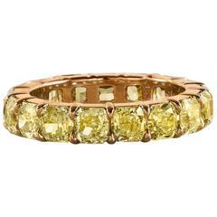 Fancy Yellow Diamond Eternity Wedding Band Ring