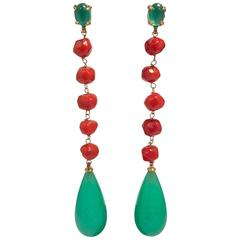 Yellow Gold Corals and Jades Chandelier Earrings