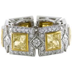Fancy Yellow and White Diamonds Eternity Wedding Band Ring