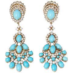 Van Cleef & Arpels Vintage Turquoise Diamond Gold Earrings