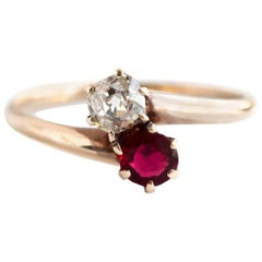1880s GIA Certified .39 Carat Ruby Diamond Yellow Gold Engagement Ring