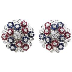 Cartier Diamond Ruby Sapphire Gold Trembler Earrings