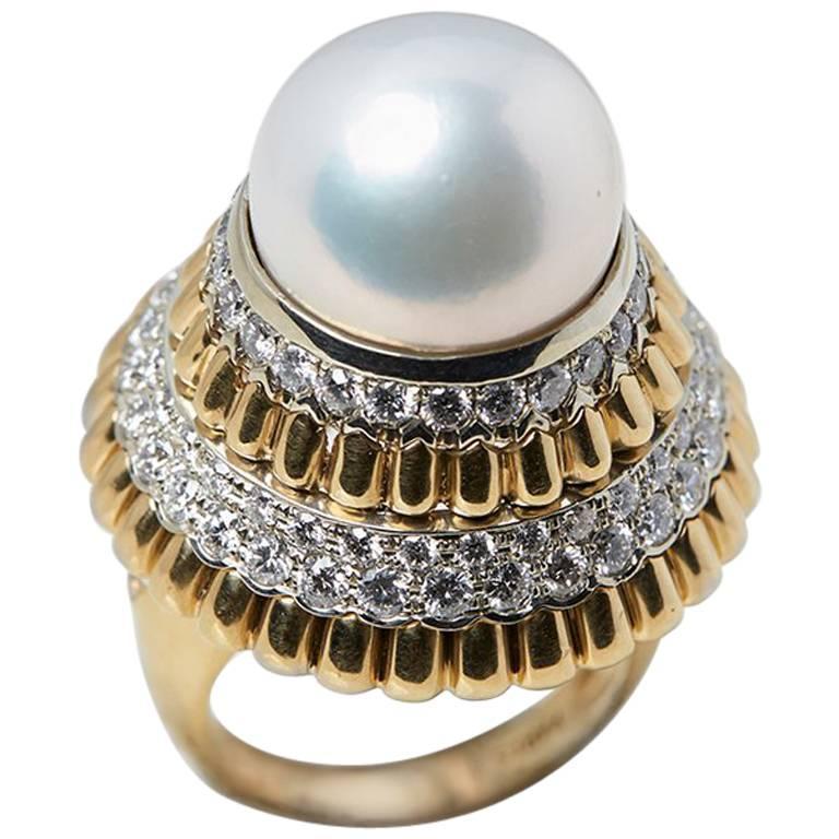 Van Cleef & Arpels South Sea Pearl Diamond Cocktail Ring