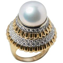 Van Cleef & Arpels South Sea Pearl Diamond Cocktail Ring