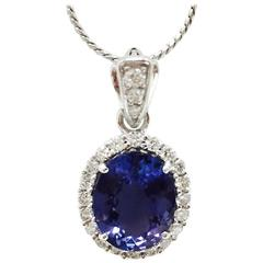 Tremendous Tanzanite Diamond Gold Necklace