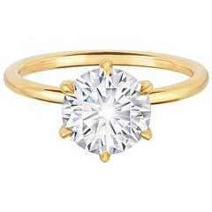 2.27 Carat GIA Certified Round Brilliant Diamond Yellow Gold Engagement Ring