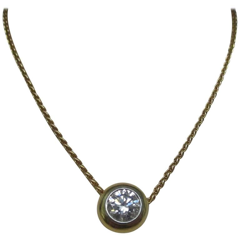 Diamond Gold Platinum Necklace For Sale