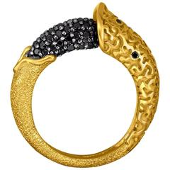 Black Diamond Yellow Gold Textured Ring Handmade in NYC Limited Edition