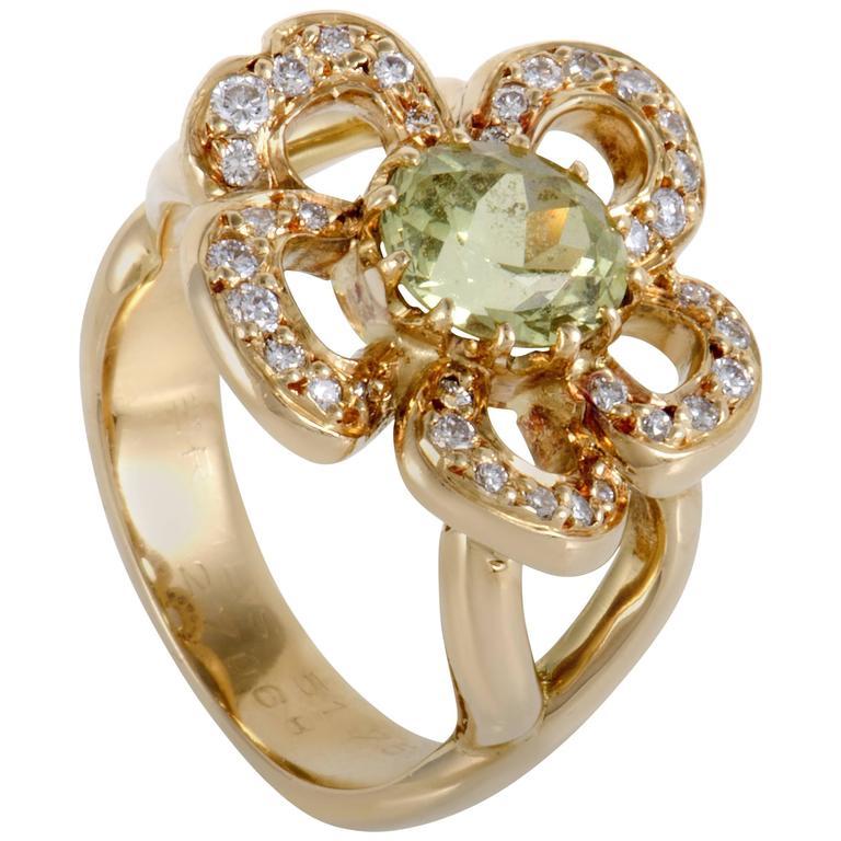Hermès Peridot Diamond Yellow Gold Ring
