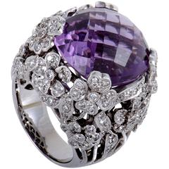 White Gold Floral Diamond and Amethyst Ring
