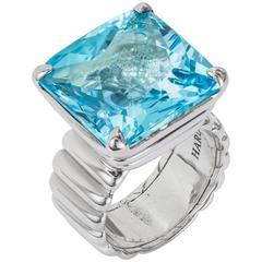 John Hardy 925 Sterling Silver Ring Square Blue Topaz